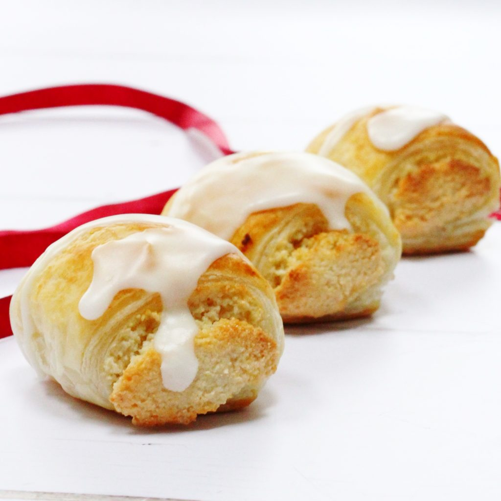 Almond rolls with white icing