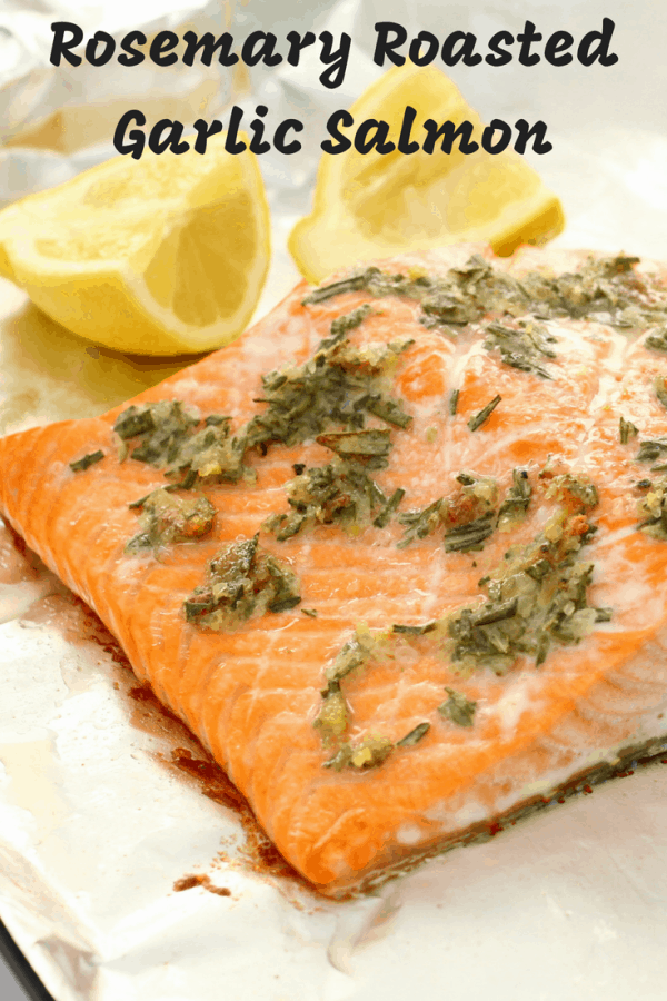 roasted garlic rosemary salmon pin image