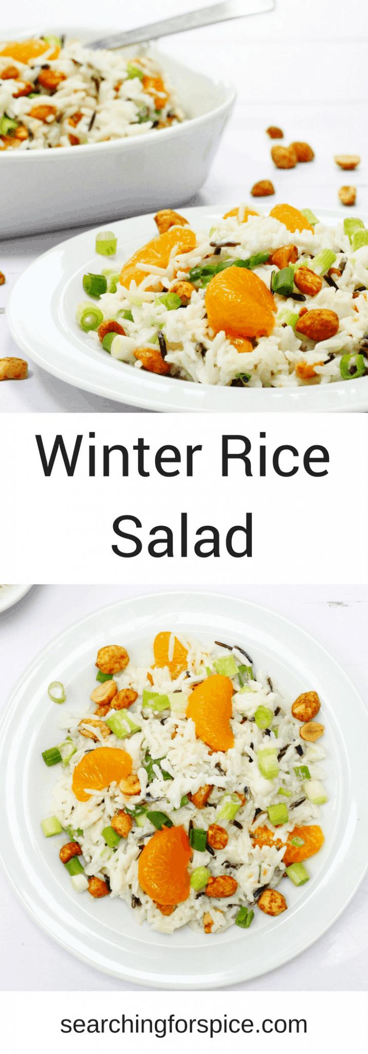 Winter rice salad with dry roasted peanuts, mandarins and spring onions #salad #ricesalad #recipe #mandarinoranges s #sidedish #vegetarian