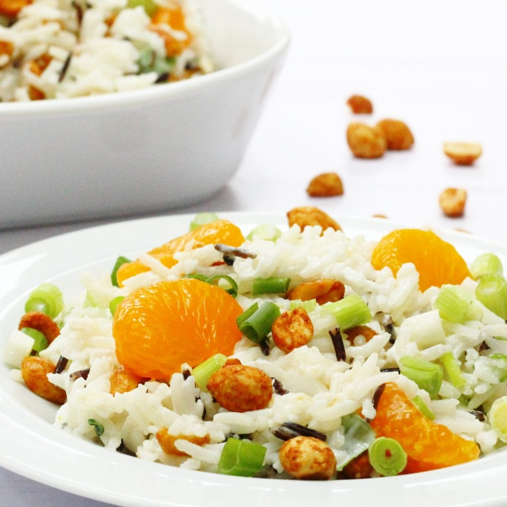 Winter Rice Salad with Mandarin Oranges and Dry Roasted Peanuts