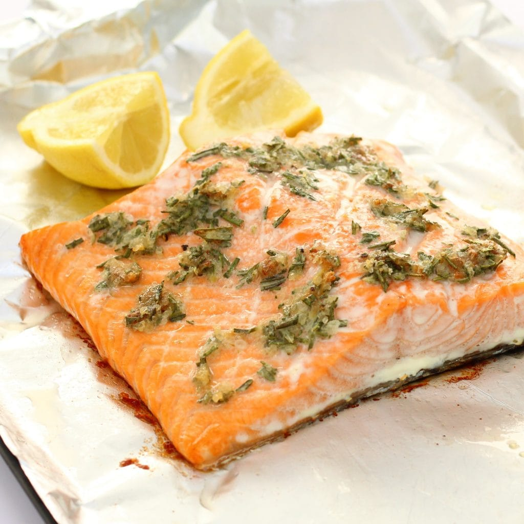 Roasted garlic and rosemary salmon