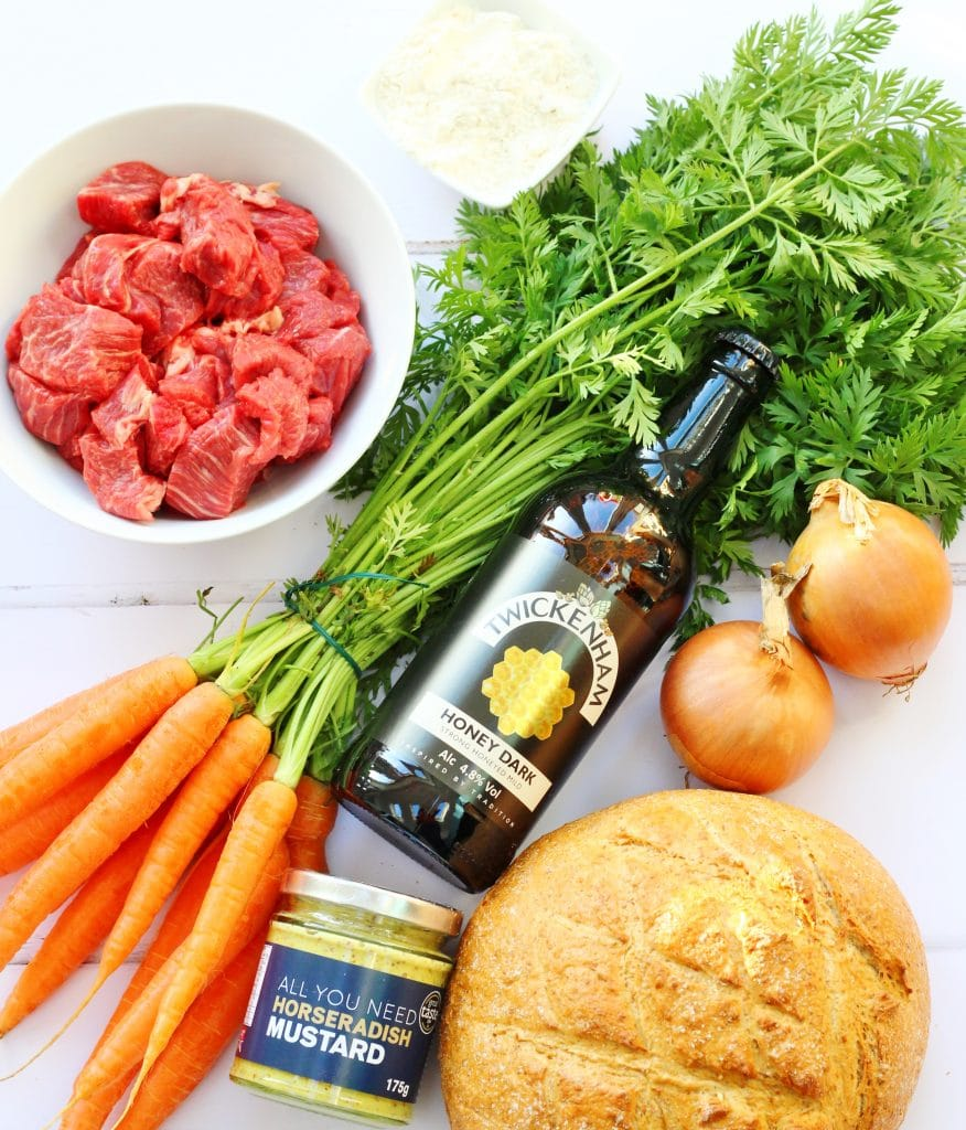Mustard beery beef stew made with locally sourced ingredients. This slow cooked beef stew is good enough for a dinner party as well as a simple comfort food meal