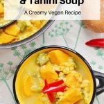 Sweet potato lentil and tahini soup pin image