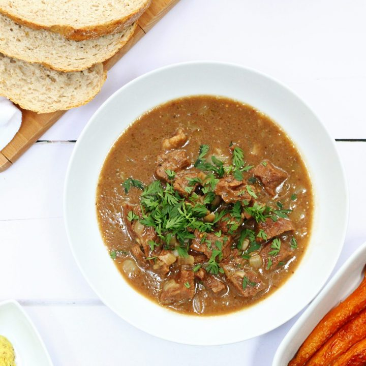 Beery mustard beef stew made with locally sourced ingredients. This slow cooked beef stew is good enough for a dinner party as well as a simple comfort food meal
