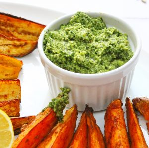 Carrot top pesto in a ramekin