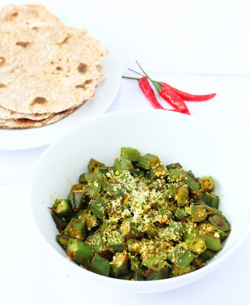 dry fried curried okra with Indian Spices