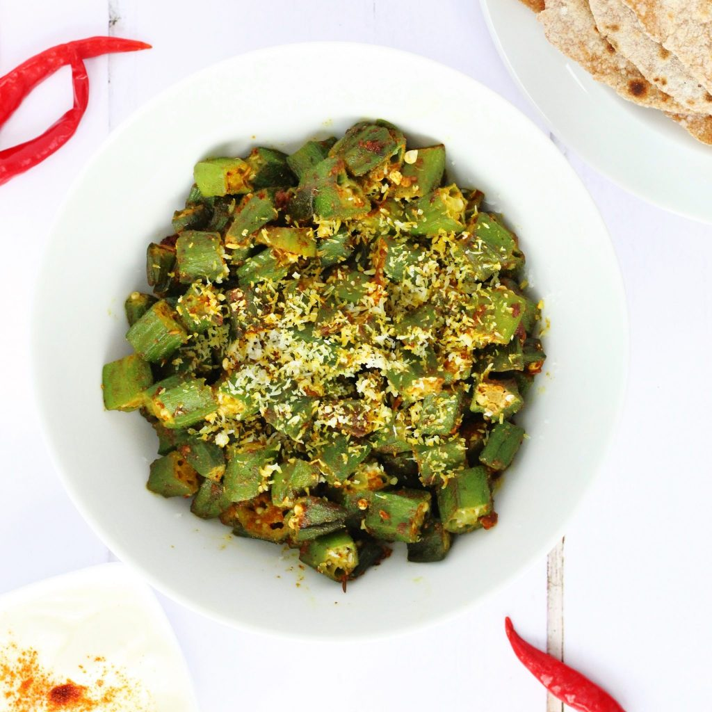 Dry curried okra