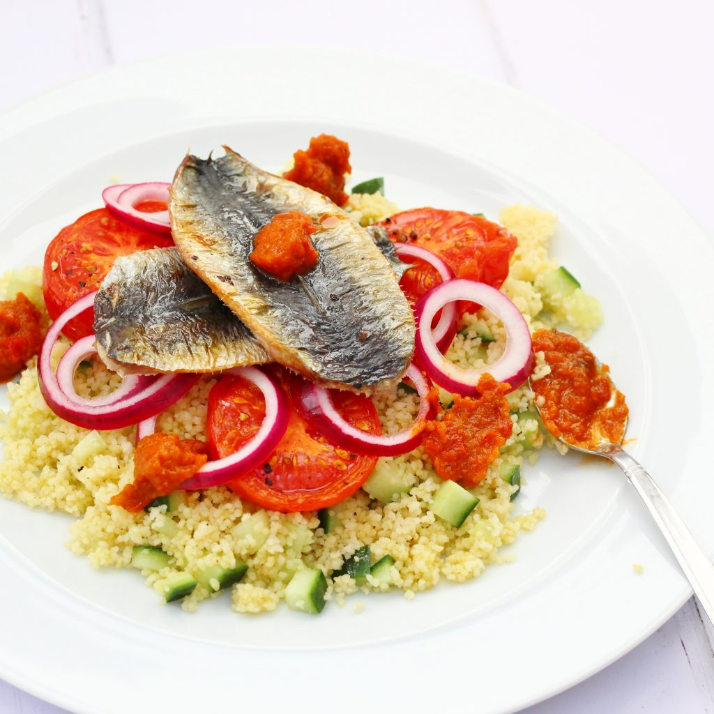 Healthy couscous sardine salad with espelette pepper chutney