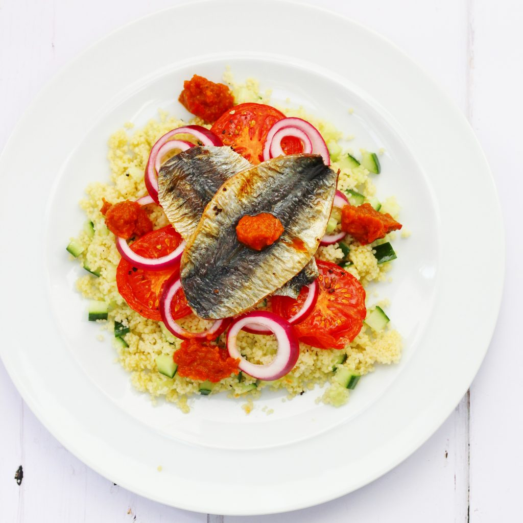 Couscous sardine salad with espelette pepper chutney