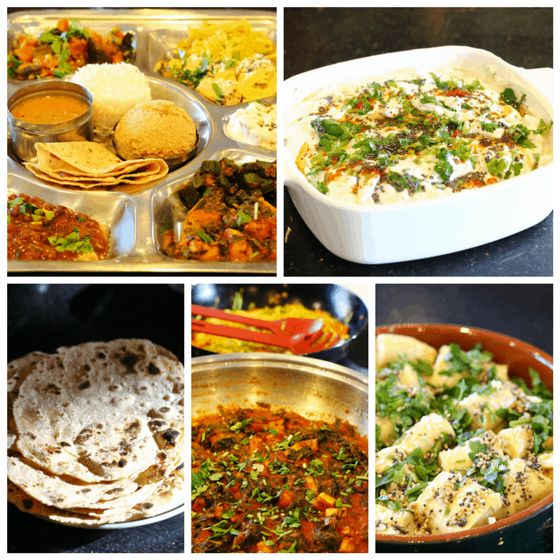Dishes from the vegetarian thali cookery class