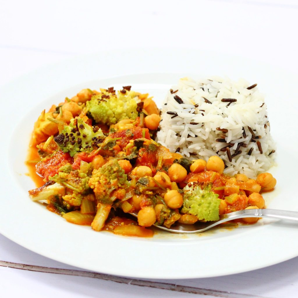 Roasted romanesco curry with rice