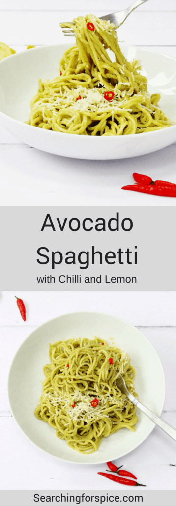 Avocado spaghetti sauce with fresh chilli pepper and lemon juice. This healthy pasta sauce is delicious with spaghetti and so quick to make too. Ready in about 15 minutes. Great for and easy quick midweek meal, especially if you like recipes with a chilli kick #avocadospaghetti #avocadosauce #pastasauce #spaghetti #easyrecipes #midweekmeal #quick #chillipeppers #lemon #birdseyechillies #creamysauce