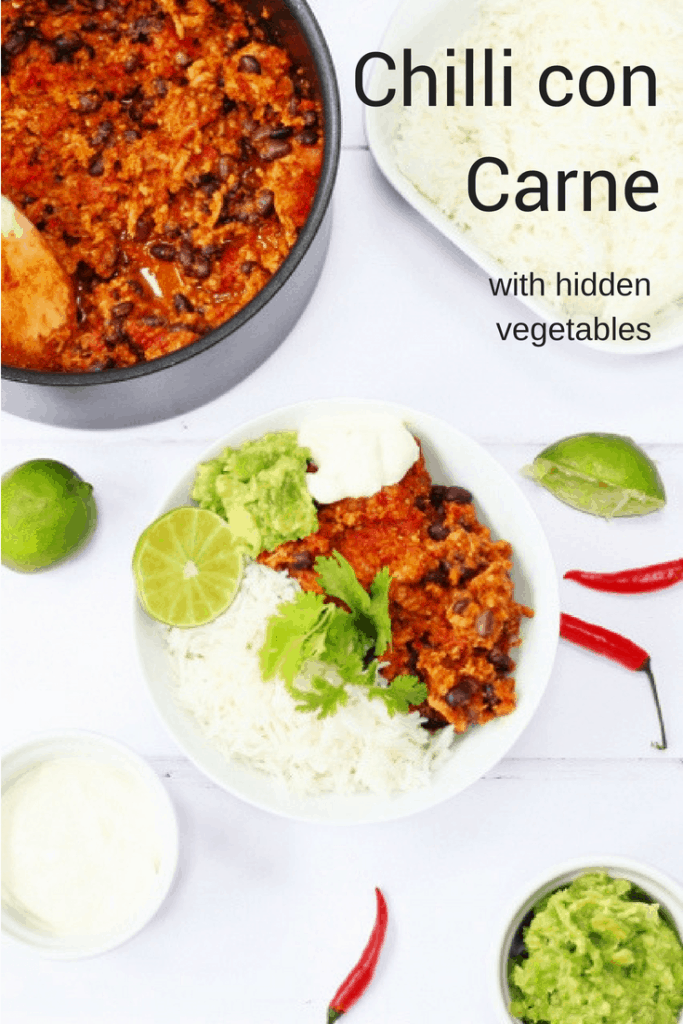 chilli con carne with hidden vegetables pin image