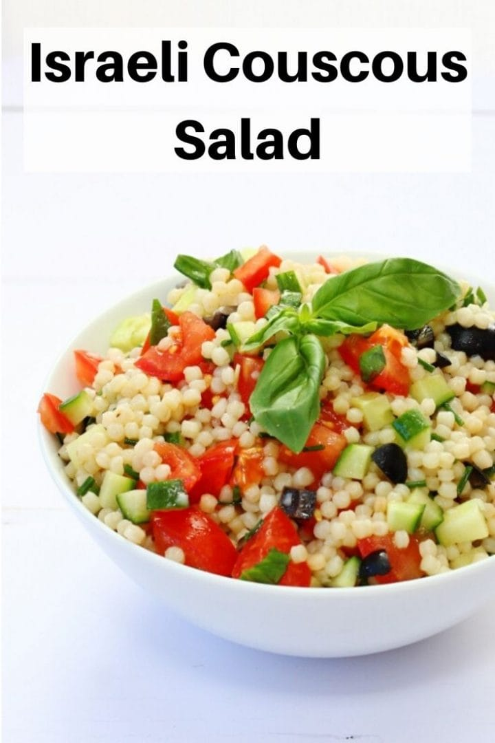 Israeli couscous salad pin image