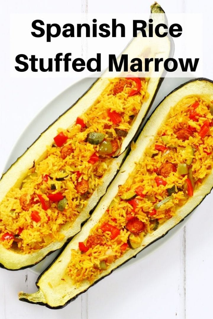Spanish rice stuffed marrow pin image