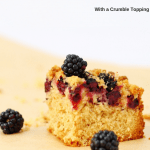 This blackberry and coconut tray bake makes a delicious snack or fruity dessert. It's an oaty coconut cake topped with blackberries and a crumble topping. It's so good warm with ice cream too. The recipe is from the book, Foraging with Kids, and it's a great recipe to make with foraged berries #traybake #cake #easyrecipes #blackberries #dessert #snack #fruit #coconut