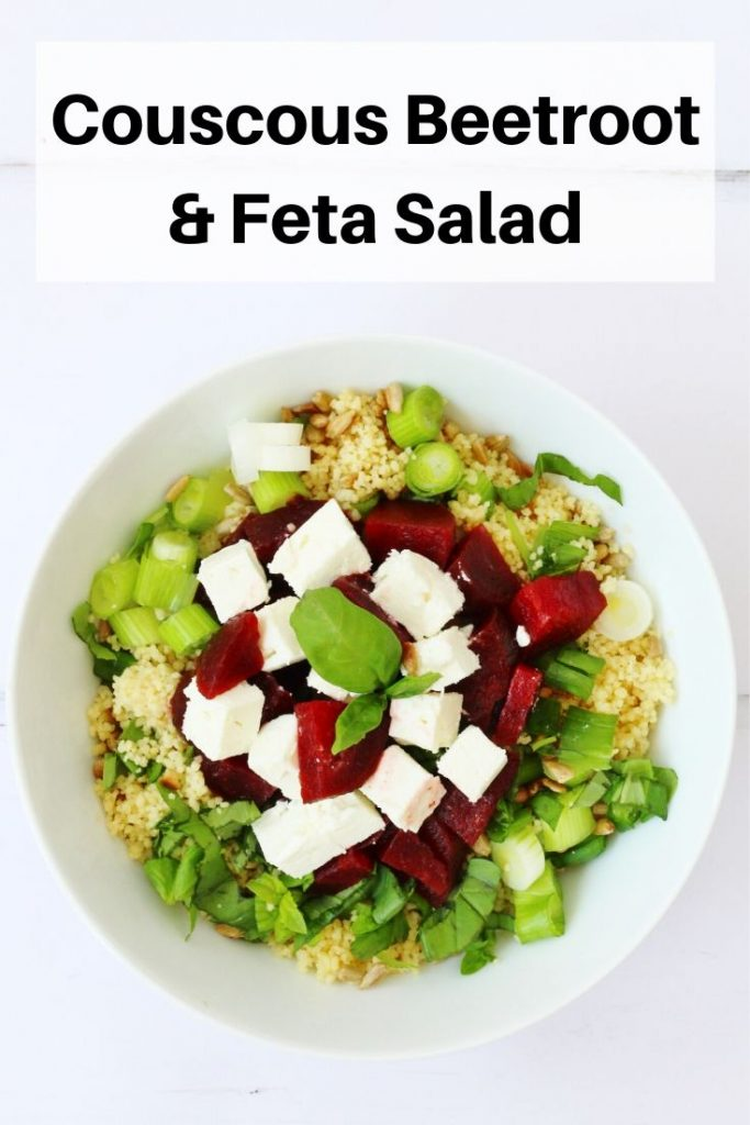 Beetroot couscous and feta salad pin image