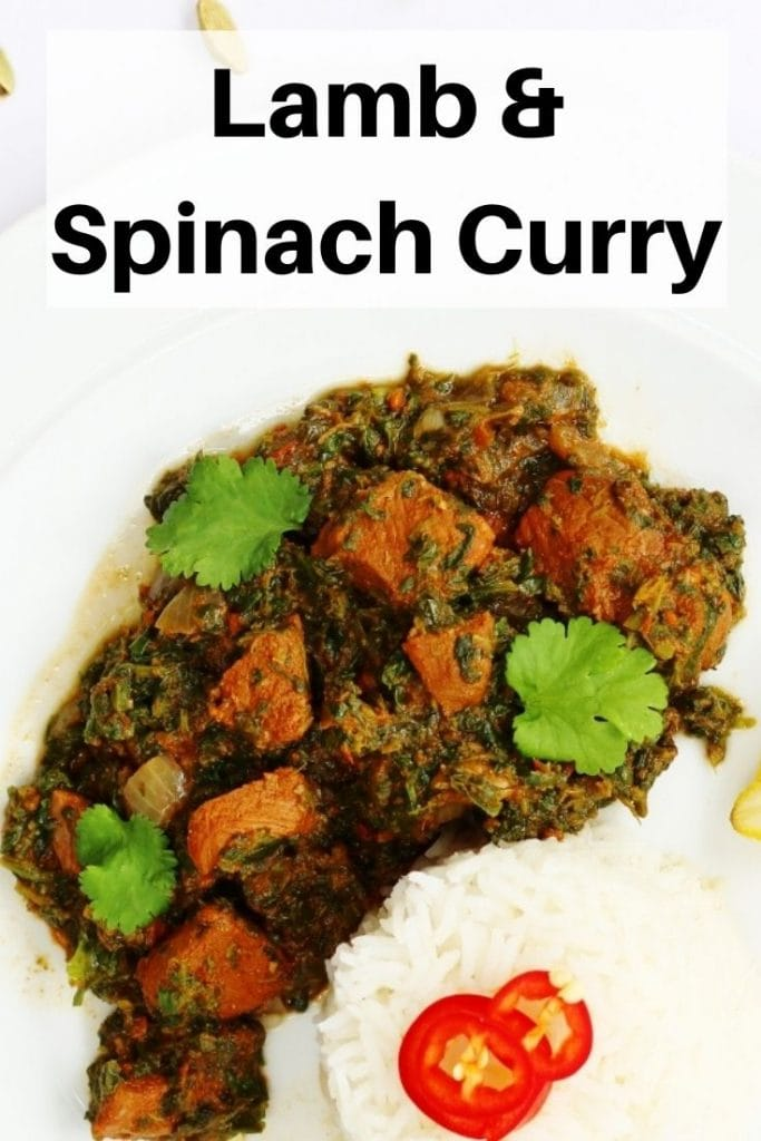 lamb spinach curry pin image