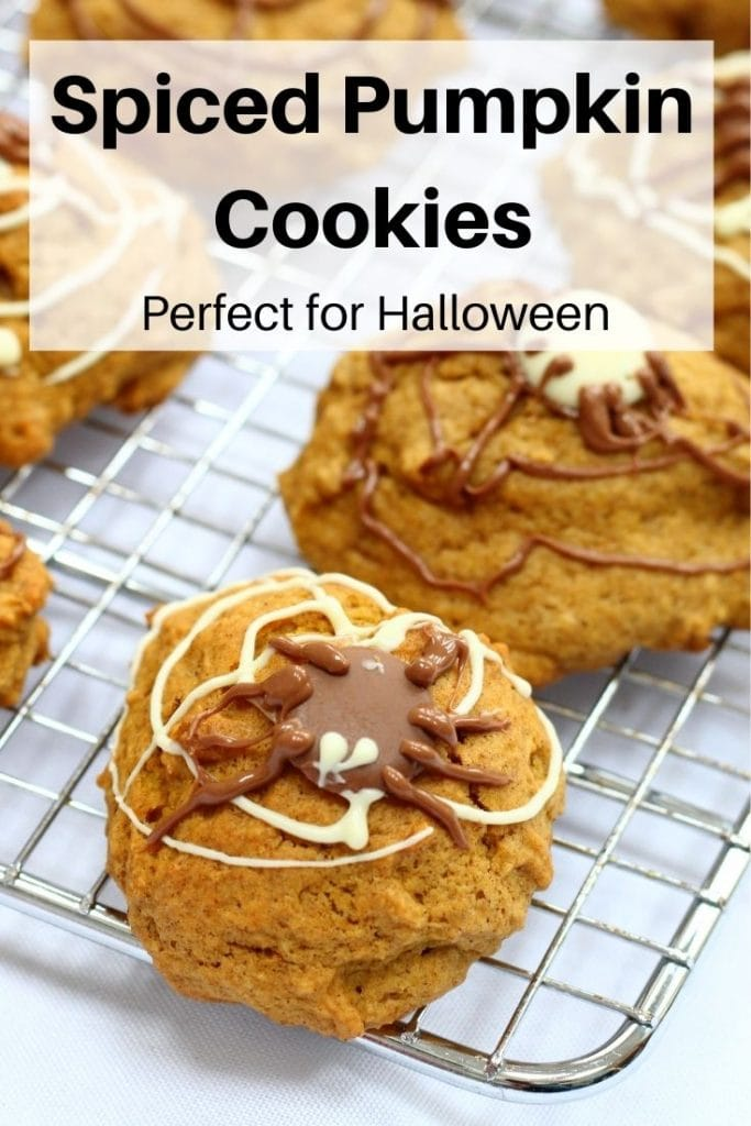 spiced pumpkin spider cookies pin image