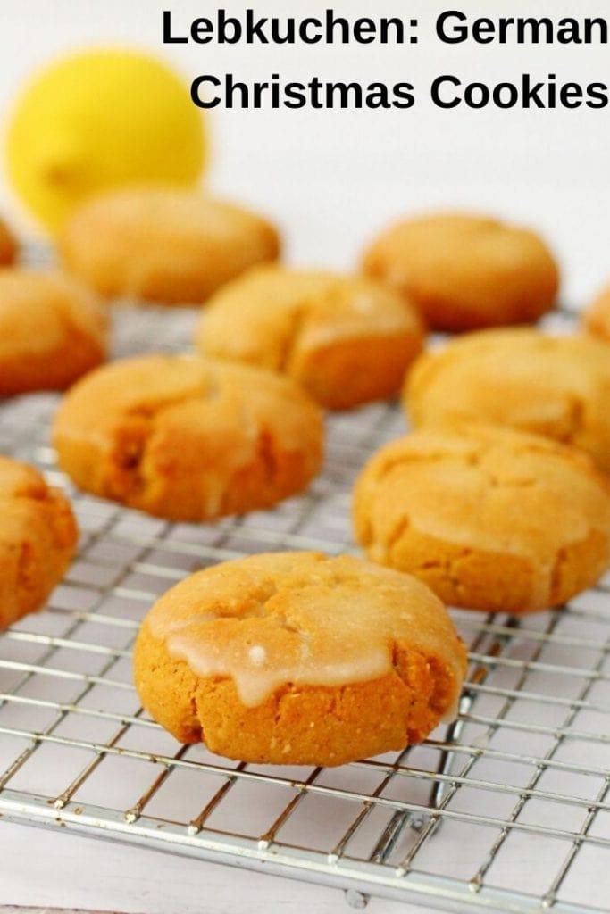 Pin image for lebkuchen recipe with lemon glaze