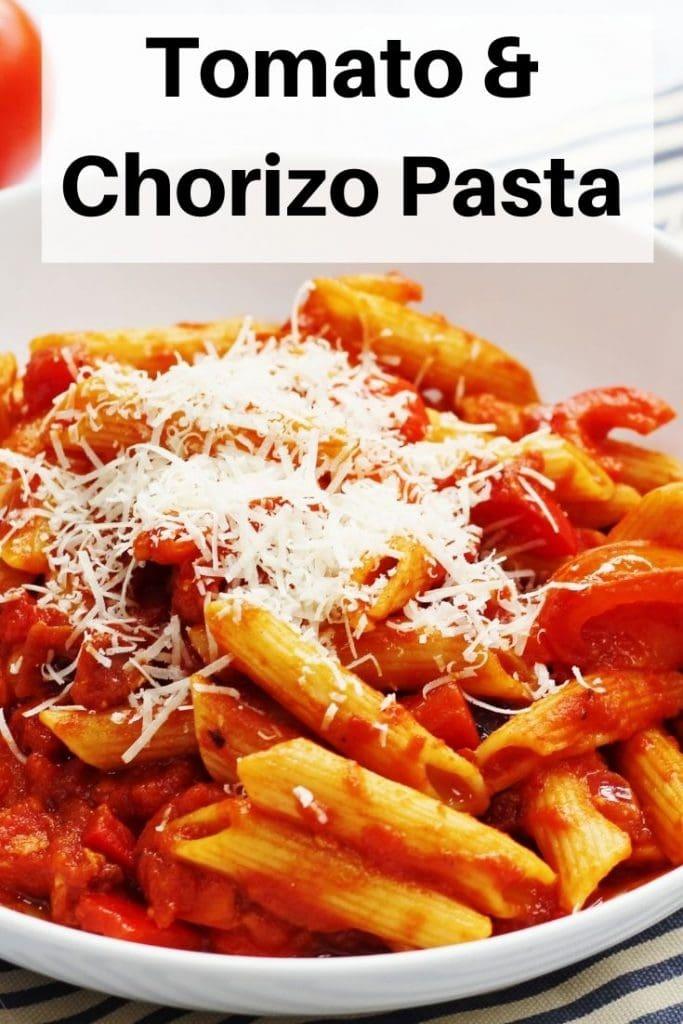 Tomato chorizo pasta pin image