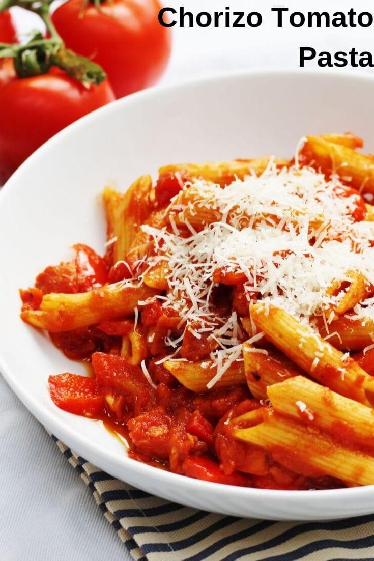 Tomato and Chorizo pasta in a bowl