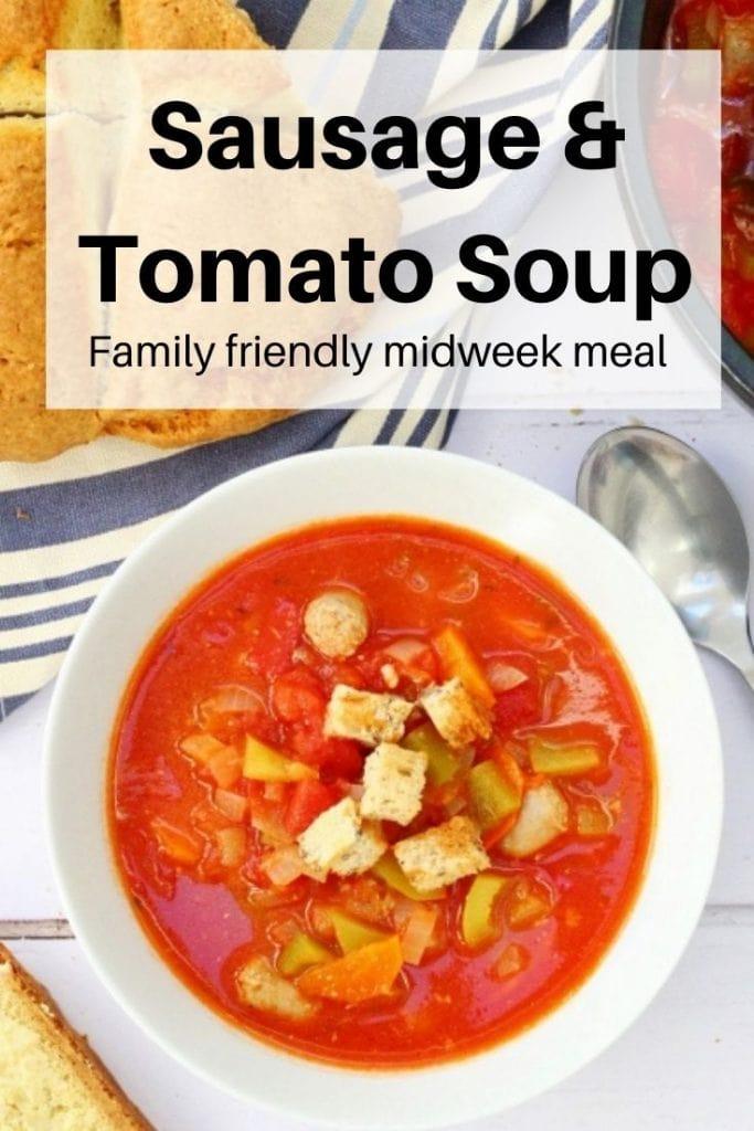 Tomato and sausage soup pin image