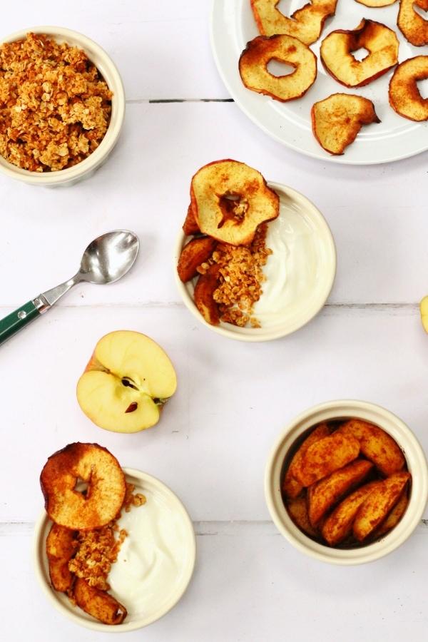 cinnamon apple slices, apple crisps and quark in breakfast bowls