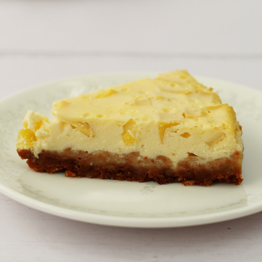 Sliced of mango cheesecake made with quark