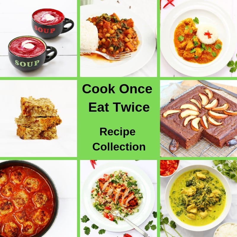 Collage or recipes that you can cook once eat twice