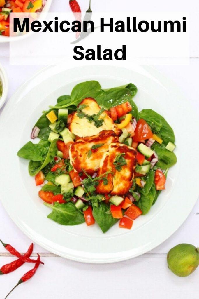 Mexican halloumi salad pin image