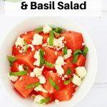 basil watermelon feta salad pin image