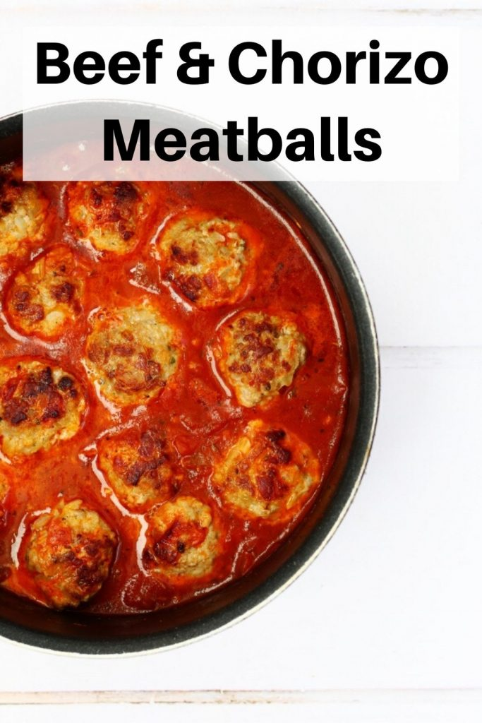 Beef and chorizo meatballs pin image