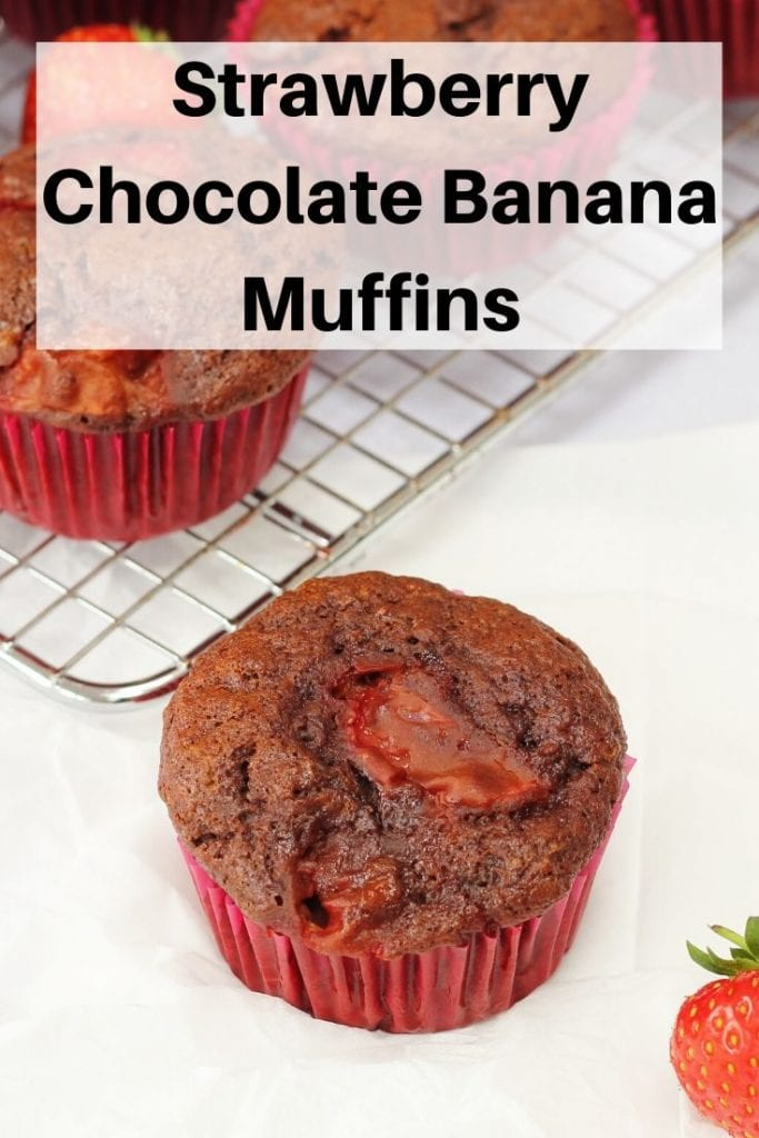 Strawberry chocolate banana muffins pin image