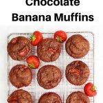Strawberry chocolate banana muffins pin image