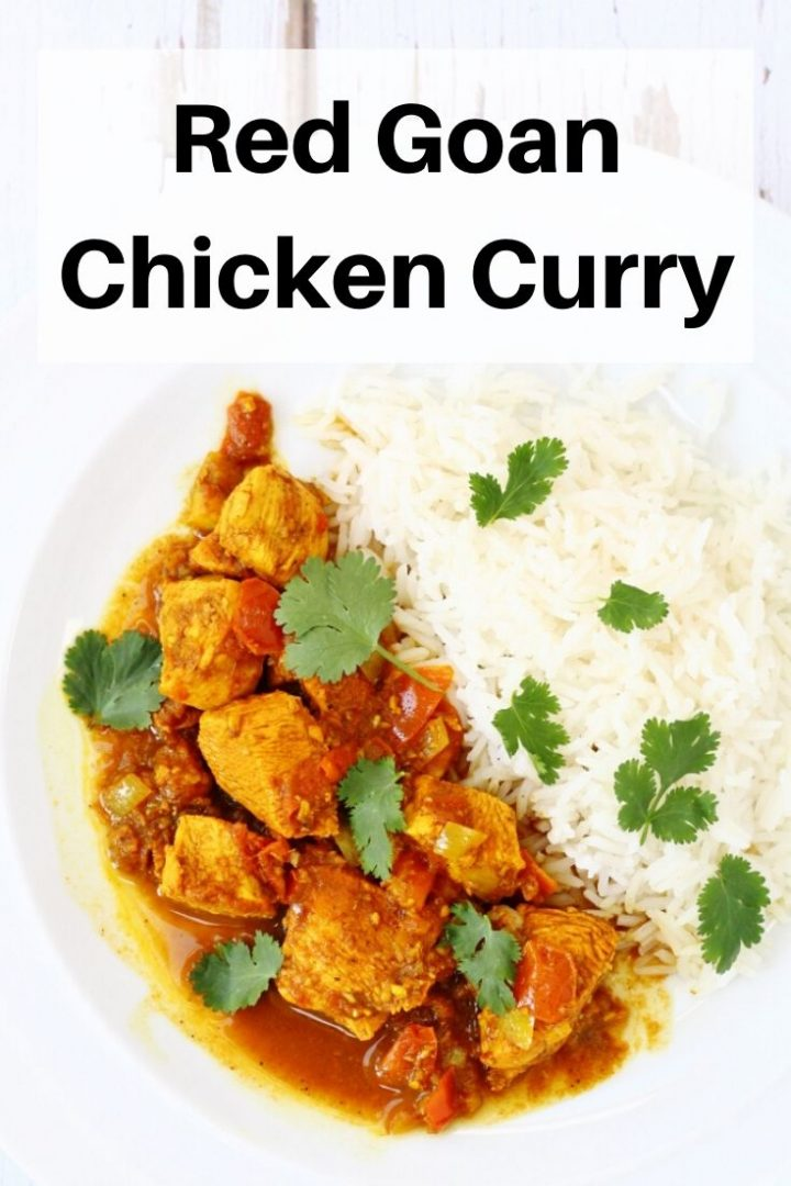 red Goan Chicken curry pin image