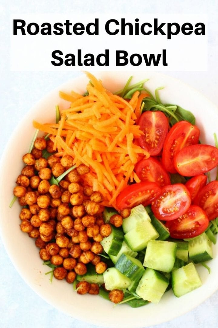 Roasted chickpea salad bowl pin image