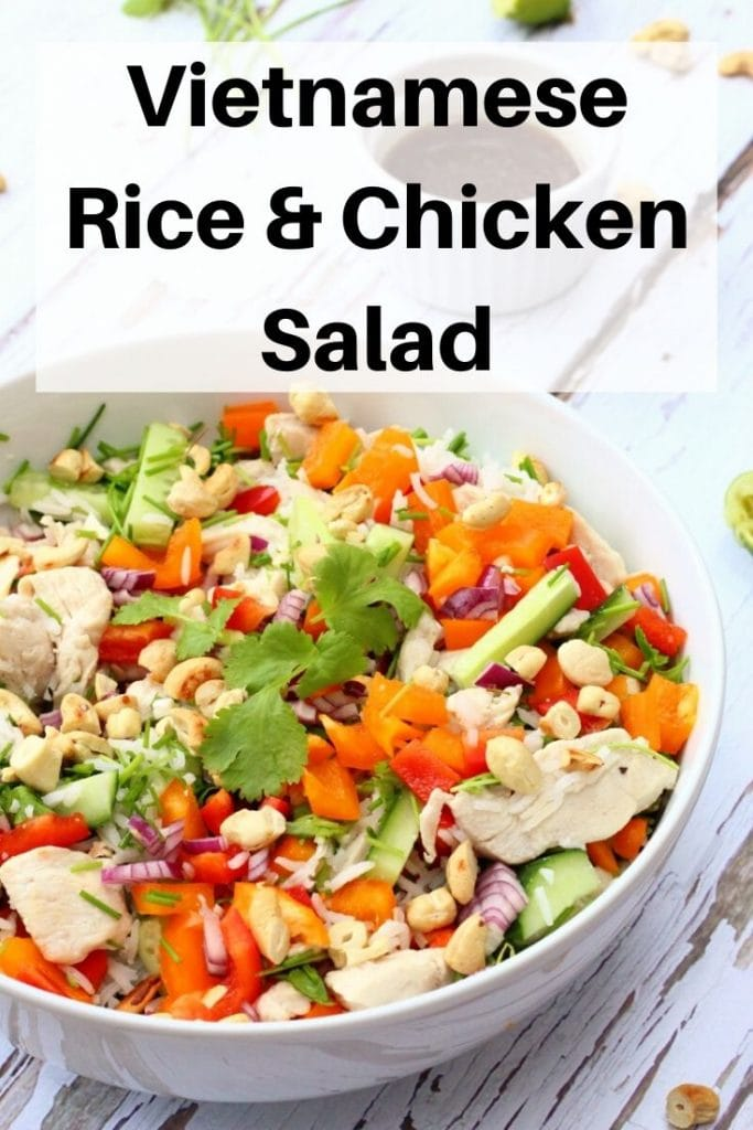 vietnamese rice chicken salad pin image