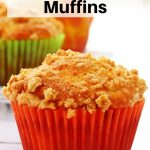Apple crumble muffins pin image