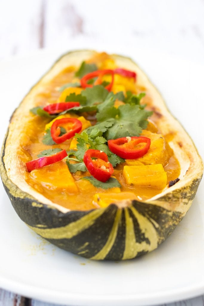 Baked marrow filled with curry