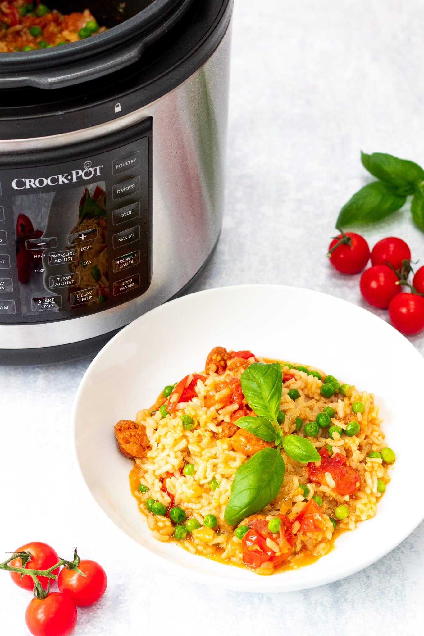 Pin pressure cooker chorizo risotto