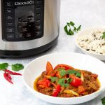 Slow cooker lamb jalfrezi with the crock pot express multi cooker in the background