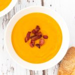 Leftover roasted vegetable soup topped with bacon