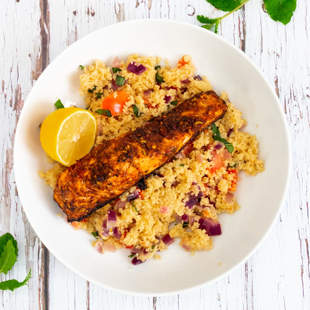 Moroccan Spiced Salmon in a bowl with couscous