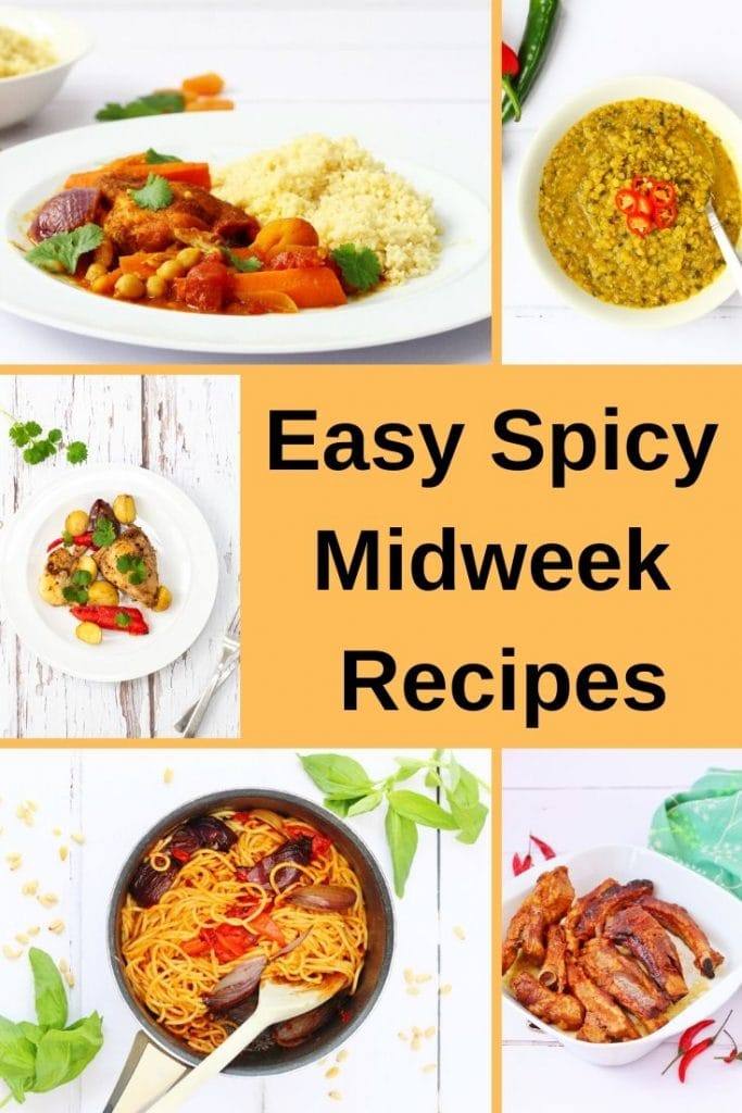 Pin image for easy spicy recipes for midweek