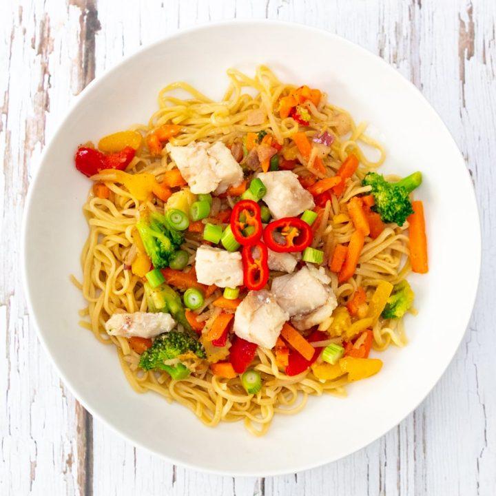Alaskan pollock stir fry noodles recipe