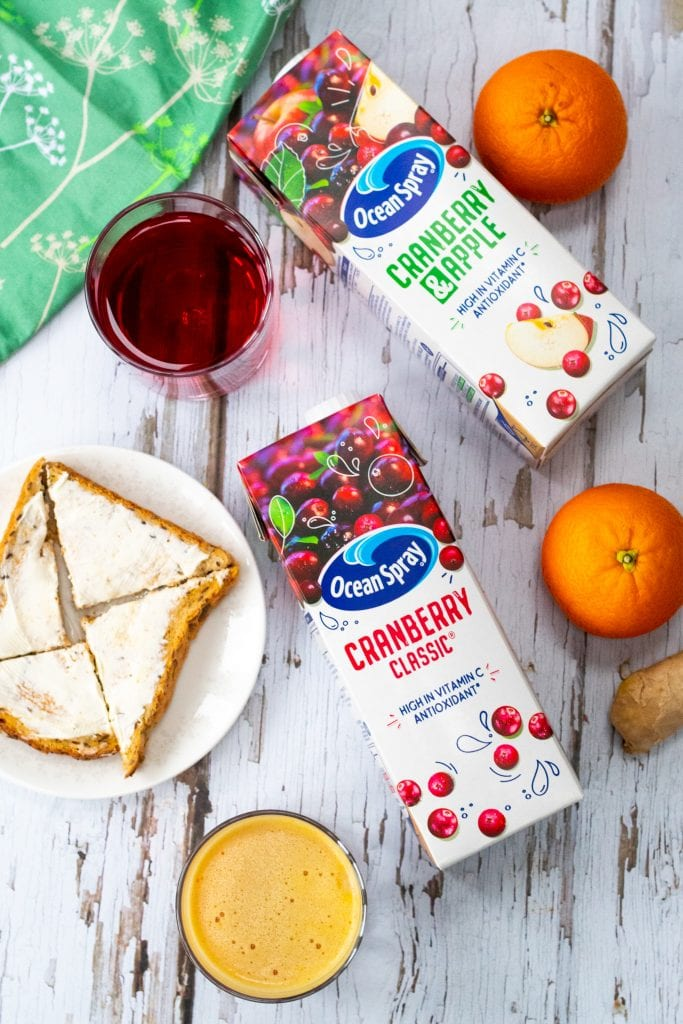 Ocean spray cranberry juice and toast with orange ginger cranberry smoothie