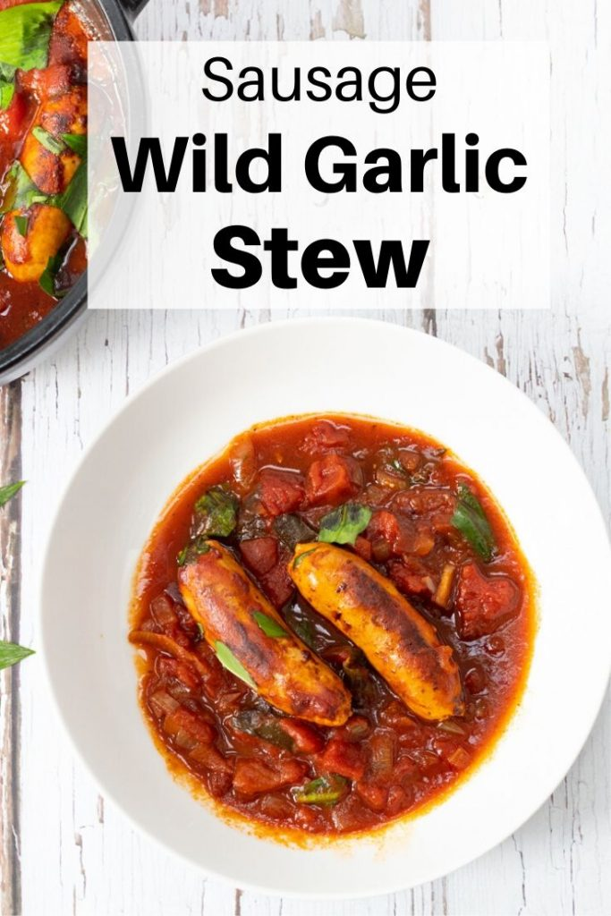 Sausage and wild garlic stew in a bowl pin image