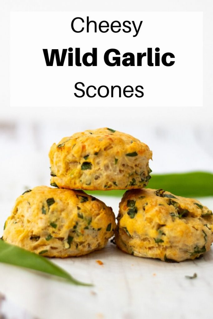 Cheesy wild garlic scones pin image