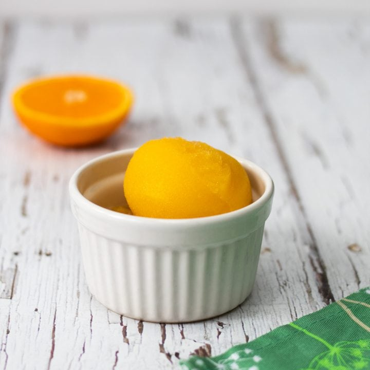 ginger and orange sorbet in a bowl